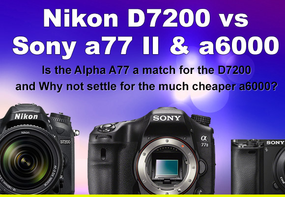 Sony A77 II, a6000 and Nikon D7200 side by side with shallow depth of field background