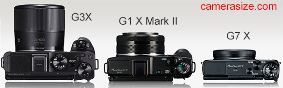 G3X vs G1X Mark II vs G7X camera size comparison