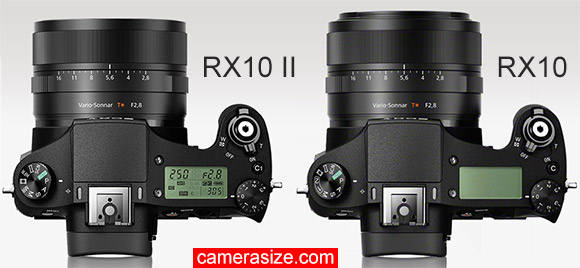RX10 II vs RX10 camera size comparison top view
