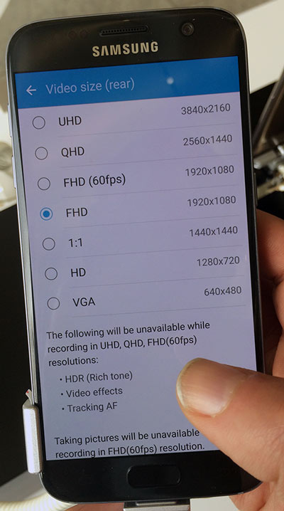 Galaxy S7 video sizes camera setting page